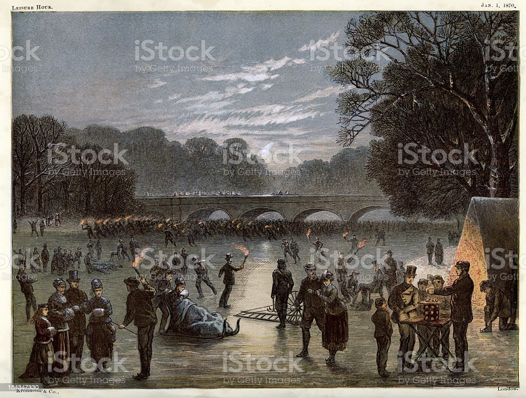 Ice skating on the Serpentine royalty-free stock vector art