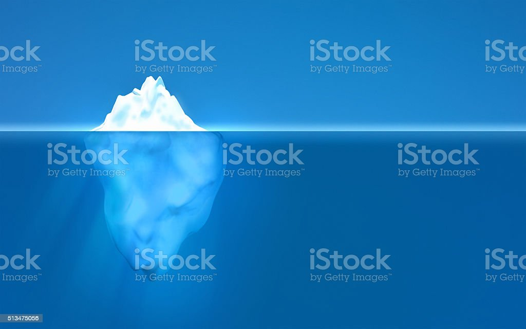 Iceberg floating in transparent water showing underwater part, copy space vector art illustration