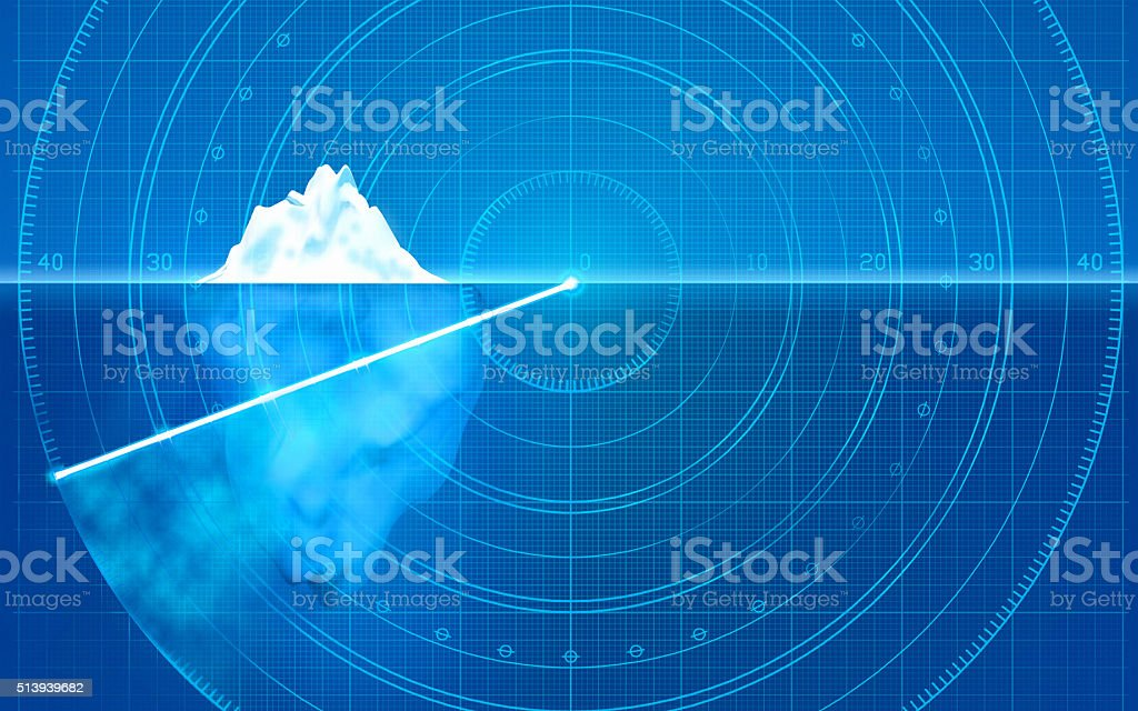 Iceberg on radar: prevent dangers, identify hidden problems, asses risks vector art illustration