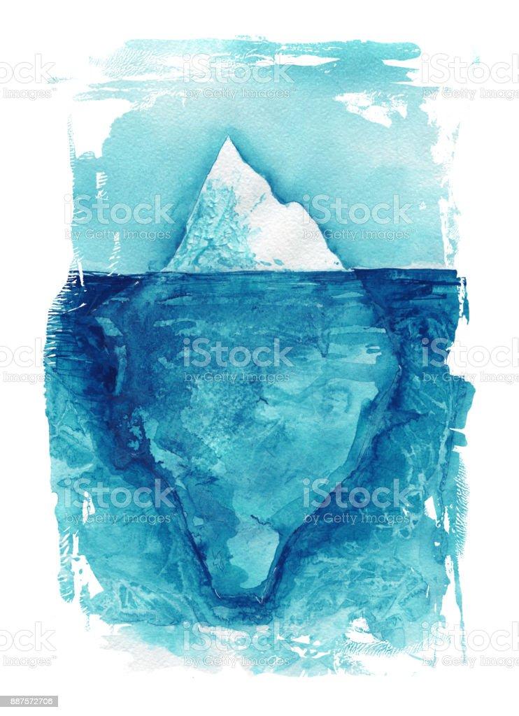 Buzdağı Deniz Manzara Okyanus Suluboya El Boyama çizim Stok Vektör