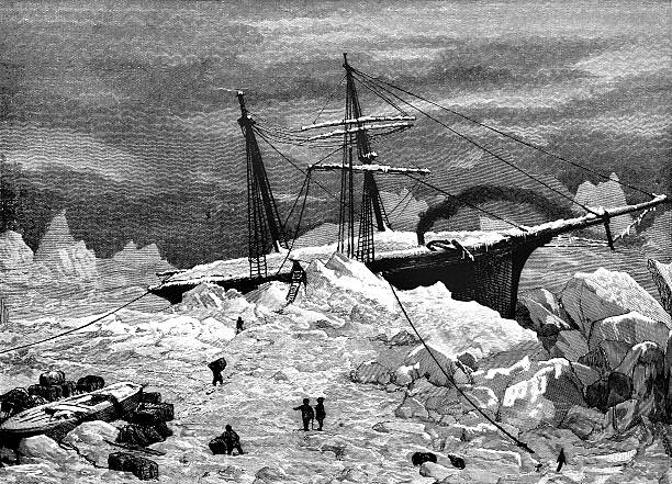ice-bound ship in the arctic - antarctica travel stock illustrations, clip art, cartoons, & icons