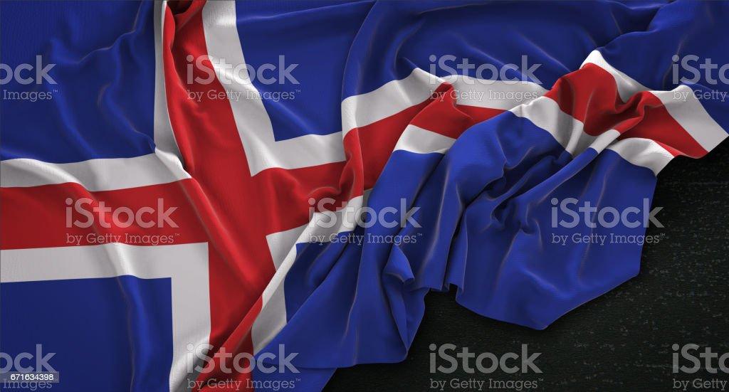 Iceland Flag Wrinkled On Dark Background 3D Render vector art illustration