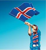 Iceland Waving Flag Soccer Fan