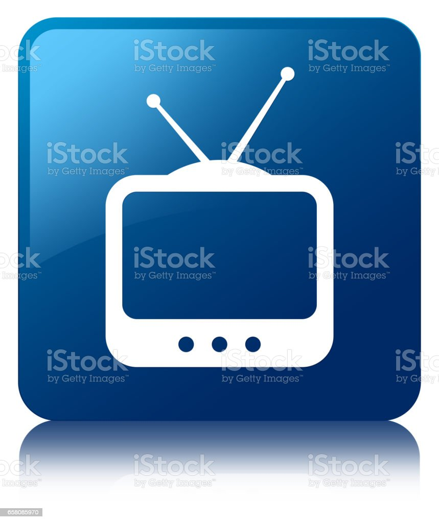 TV  icon blue square button royalty-free tv icon blue square button stock vector art & more images of antenna - aerial