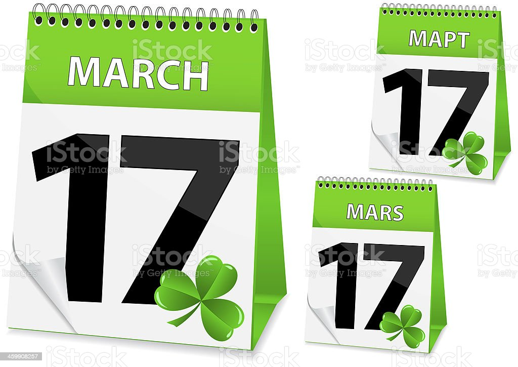 icon calendar March 17 royalty-free stock vector art