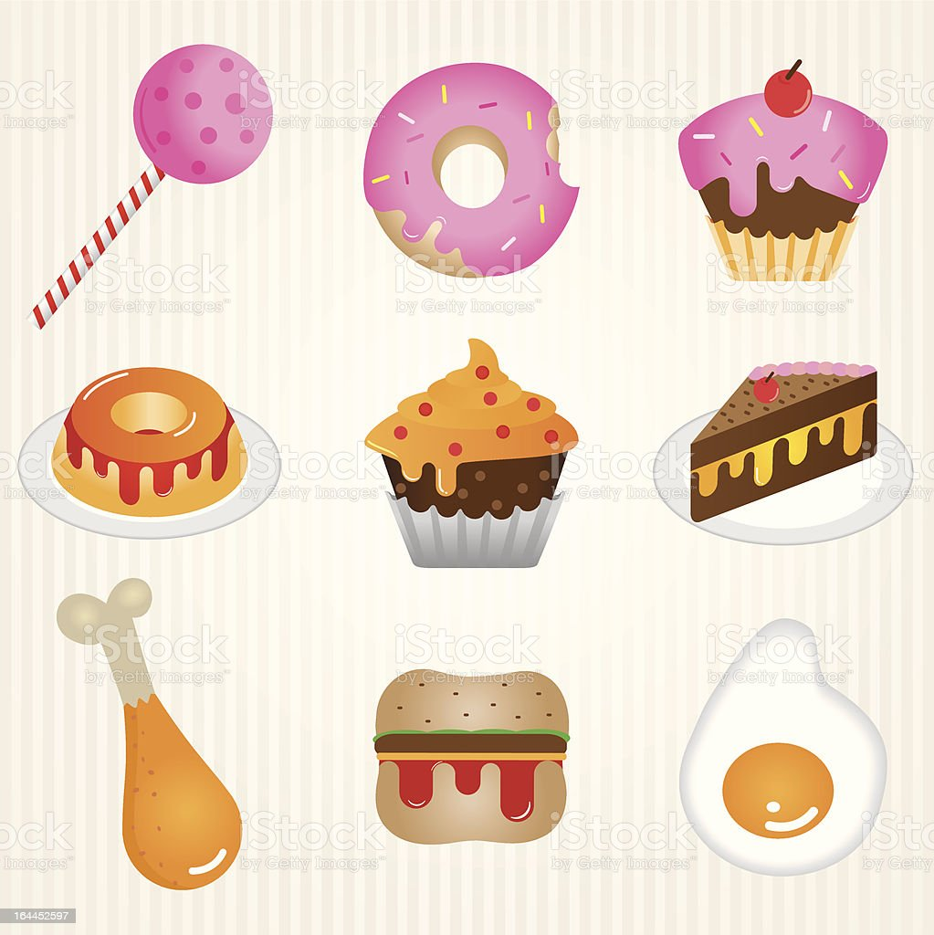 Icon food: candies and salty royalty-free stock vector art