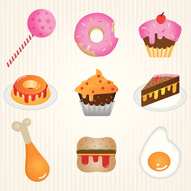Icon food: candies and salty vector art illustration