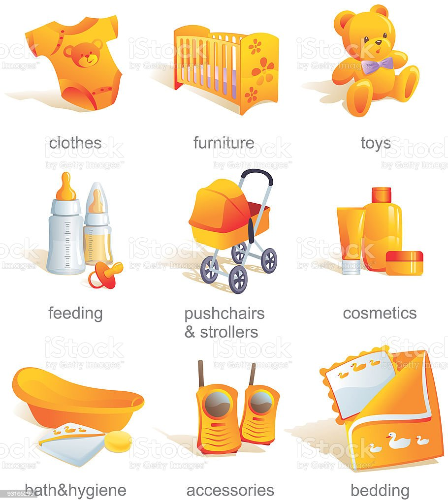 Icon set - baby  goods, items. Vector illustration royalty-free stock vector art