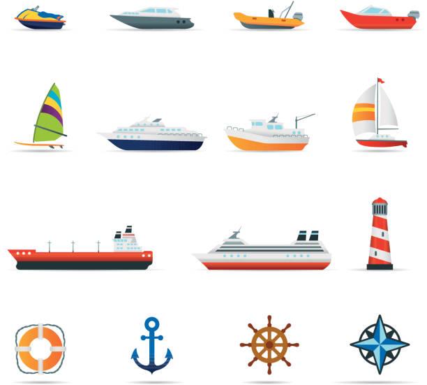 ilustrações de stock, clip art, desenhos animados e ícones de conjunto de ícones, barcos e navios de cor - fishing boat