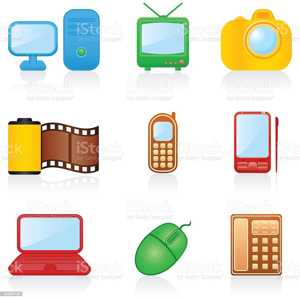 Icon set Media royalty-free icon set media stock vector art & more images of antenna - aerial