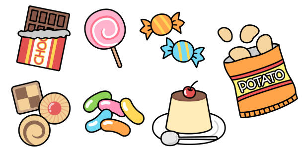 Icon set of pop candy vector art illustration