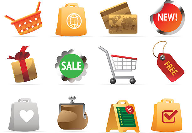 Icons for shopping vector art illustration