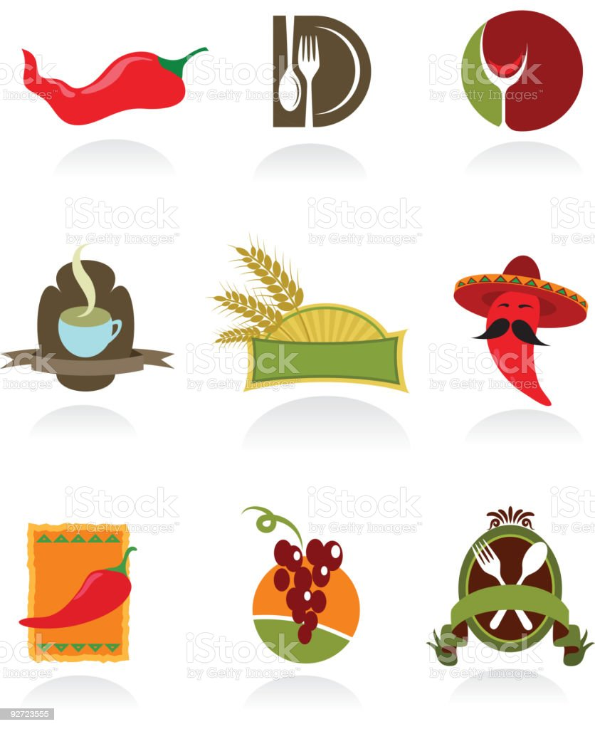 icons of coffee shop and restaurants vector art illustration