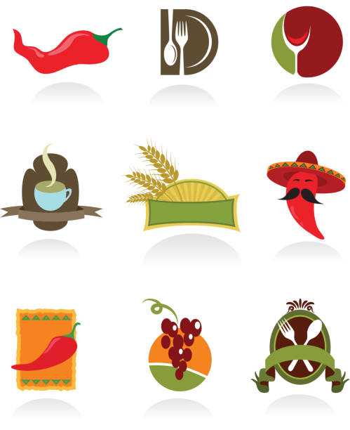 icons of coffee shop and restaurants  mexican restaurant stock illustrations