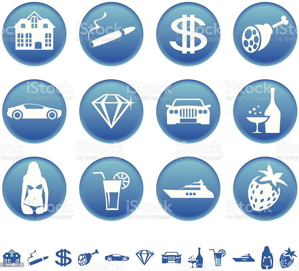 Icons of luxury life vector art illustration
