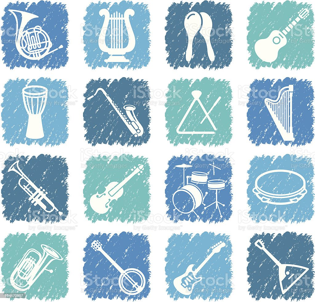 Icons of musical instruments royalty-free stock vector art