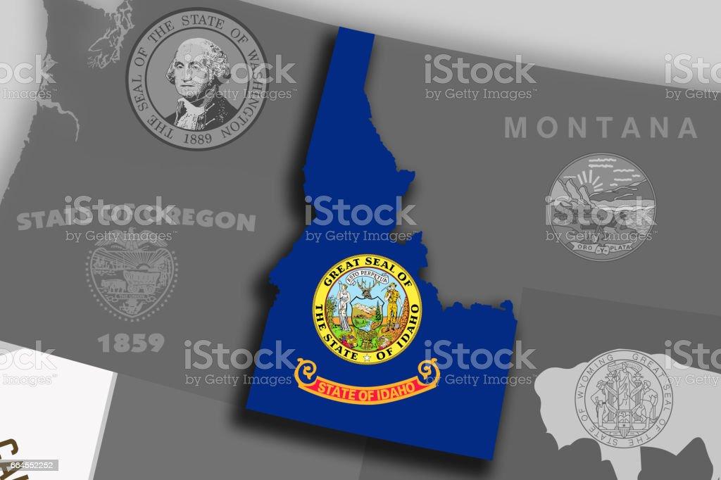 Idaho map and flag vector art illustration
