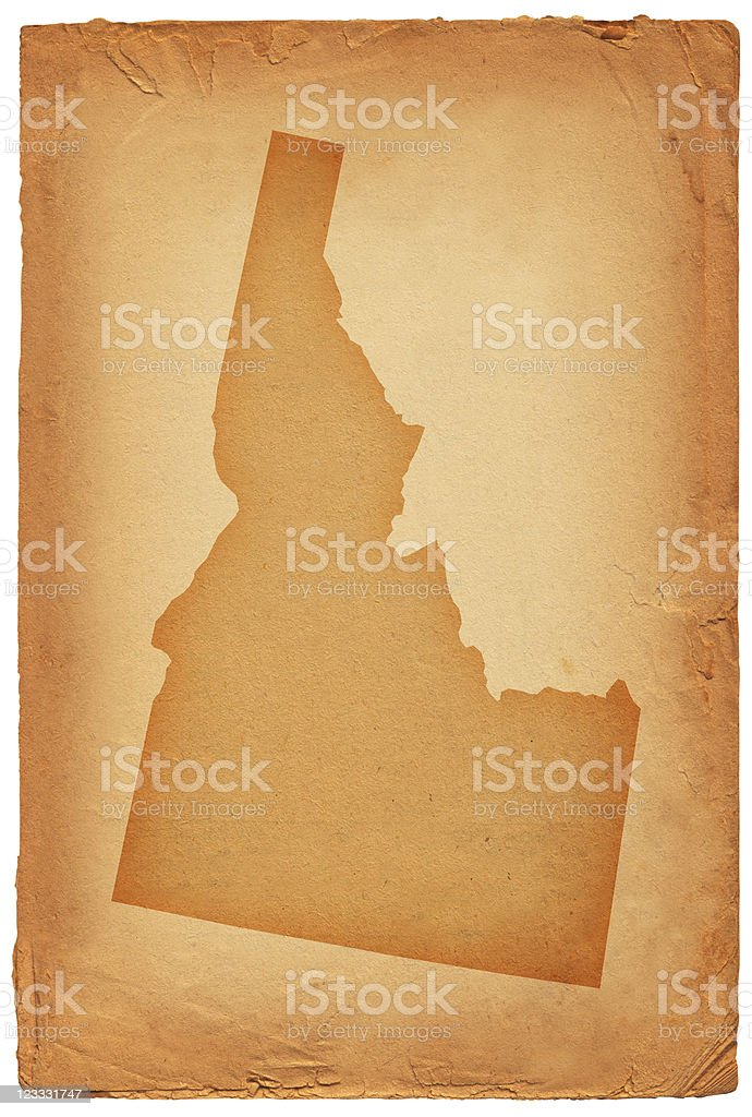 Idaho state map on old paper Background royalty-free stock vector art