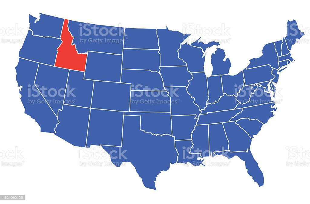 Idaho State Selected in USA vector art illustration