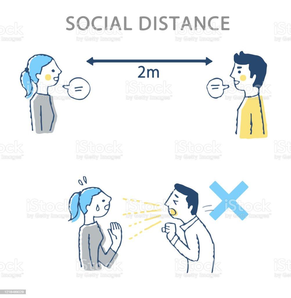 理想的な社会的距離の例と悪い例 - 20代のロイヤリティフリーストックイラストレーション