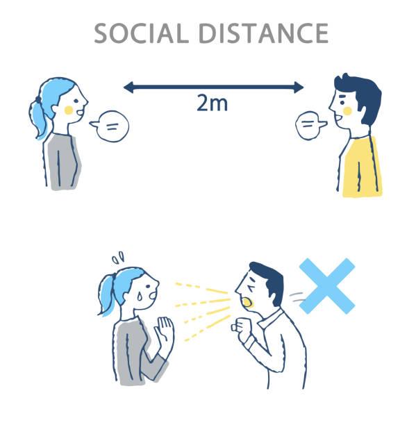 理想的な社会的距離の例と悪い例 - くしゃみ 日本人点のイラスト素材/クリップアート素材/マンガ素材/アイコン素材