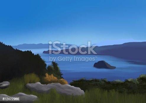 Idyllic Fannette Island in Lake Tahoe on a day in summer - Digital Painting