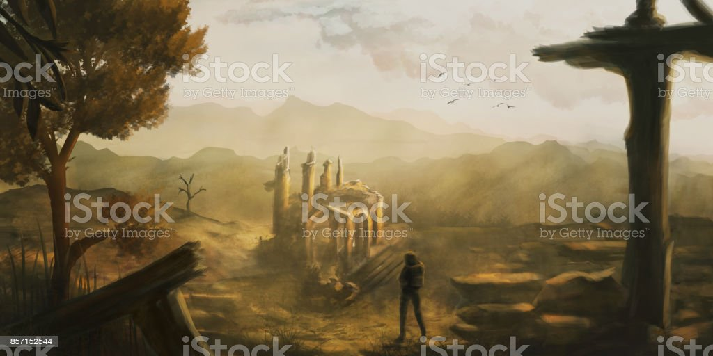 Idyllic, fantasy scenery where a person discovers old ruins, digital painting vector art illustration
