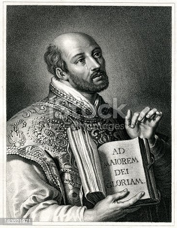 Engraving From 1837 Featuring The Spanish Knight, Theologian, And Founder Of The Society Of Jesus, Ignatius Of Loyola.  Ignatius Of Loyola Lived From 1491 Until 1556.