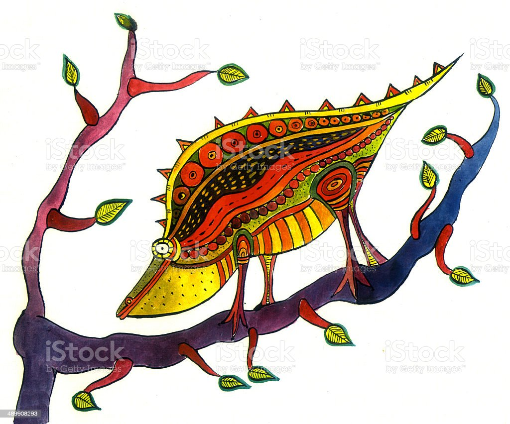 Iguana on a branch royalty-free stock vector art