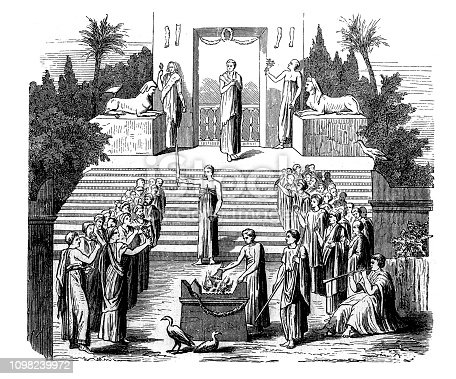 illustration of Ik sacrifice (after a Herculean mural)  Procession of the Faithful to the temple
