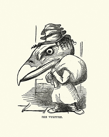 Ike Vulture, Victorian comic anthropomorphism illustration
