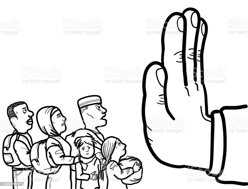 Illegal Immigrant Asylum Refugee Stock Illustration Download