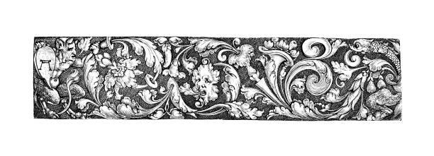 illustrations, cliparts, dessins animés et icônes de illuminez la bordure avec un thème de temps de l'anglais illustrated magazine 1886 - enluminure bordure