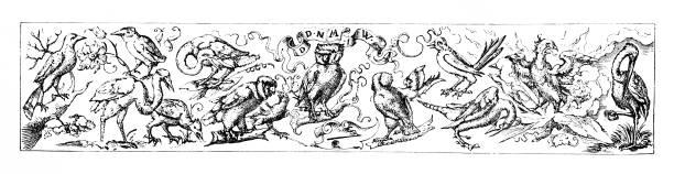 illustrations, cliparts, dessins animés et icônes de bordure illuminée avec des oiseaux de l'anglais illustrated magazine 1886 - enluminure bordure