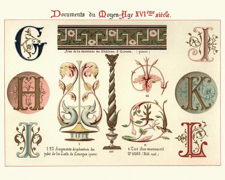 Illuminated manuscript letters and design elements, 16th Century