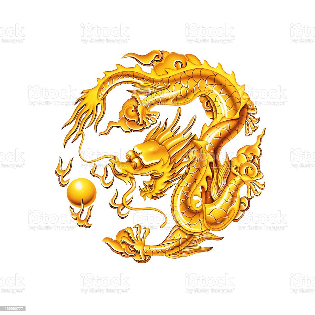 illustrated gold dragon ornament stock vector art amp more