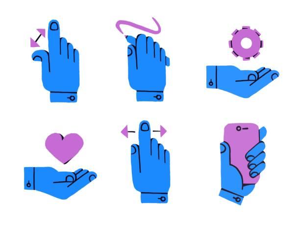 ilustraciones, imágenes clip art, dibujos animados e iconos de stock de conjunto de elementos ilustrados de agujas que interactúan con la tecnología de pantalla táctil. zoom, dibujar, personalizar la configuración, guardar en favoritos, deslizar, el uso del teléfono. - zoom call