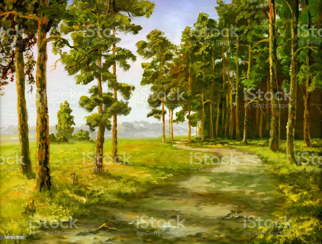 Illustrated picture of a road in the woods royalty-free stock vector art