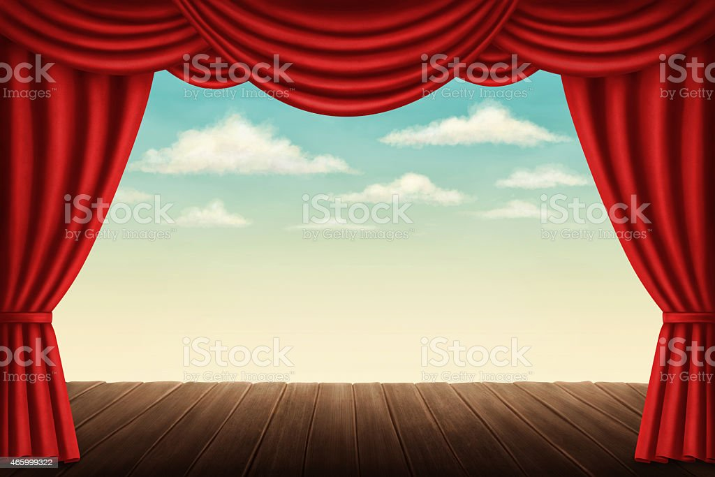 Illustrated view of a theater stage and red curtains vector art illustration