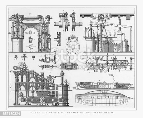 Engraved illustrations of Illustrating the Construction of Steamships Engraving, 1851. Source: Original edition from my own archives. Copyright has expired on this artwork. Digitally restored.