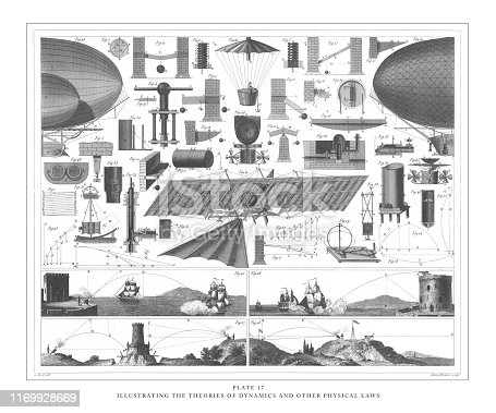 istock Illustrating Theories of Dynamics and Other Physical Laws Engraving Antique Illustration, Published 1851 1169928669