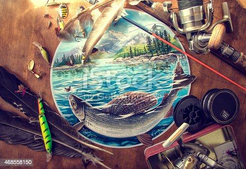 Illustration about fishing.