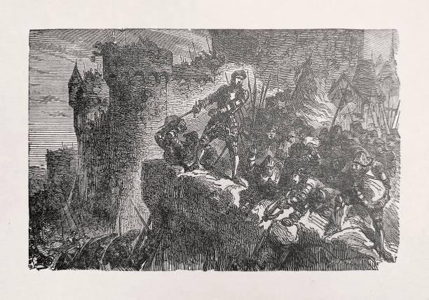 Illustration about Gui de Montfort in battle vector art illustration