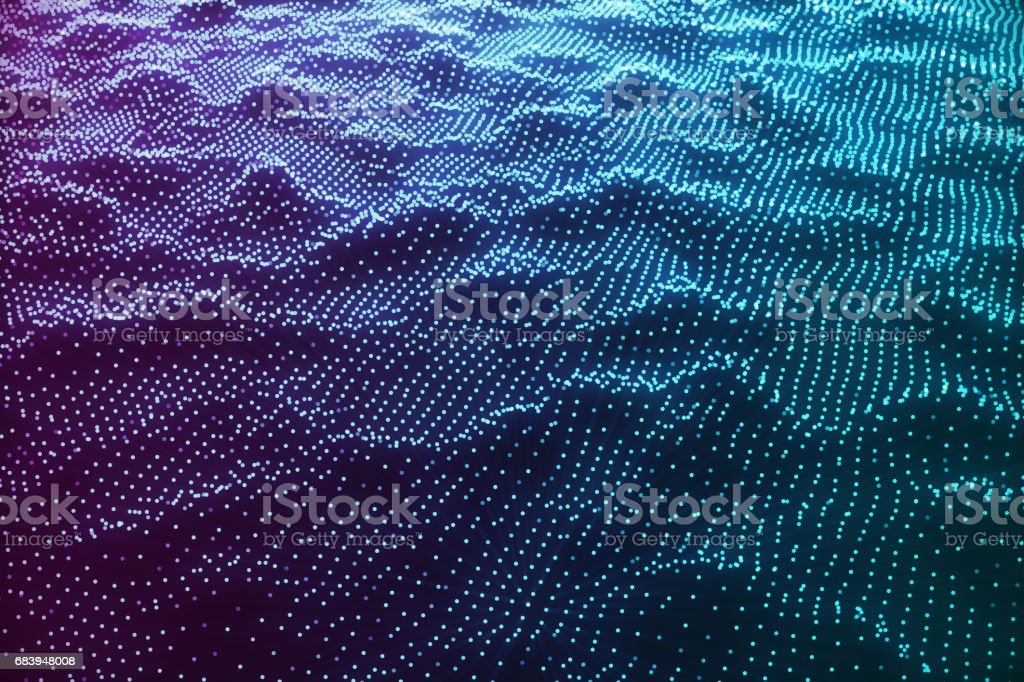3D illustration abstract blue landscape bacgkround. Cyberspace grid. Concept internet connections in cloud computing. vector art illustration