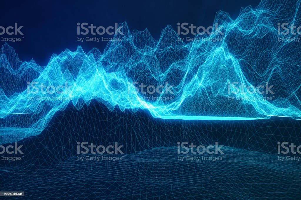 3D illustration abstract digital wireframe landscape. Cyberspace landscape grid. 3d technology. Abstract internet connection in cloud computing, communications network blue landscape vector art illustration
