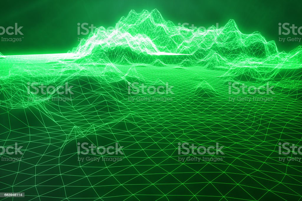 3D illustration abstract green landscape bacgkround. Cyberspace grid. Concept internet connections in cloud computing. vector art illustration