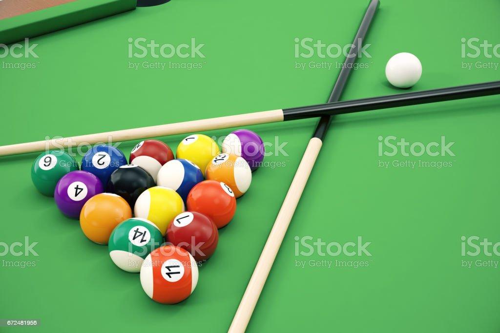 3D illustration American pool snooker balls background. American Billiard. Close up Billiard balls. & 3d Illustration American Pool Snooker Balls Background American ...