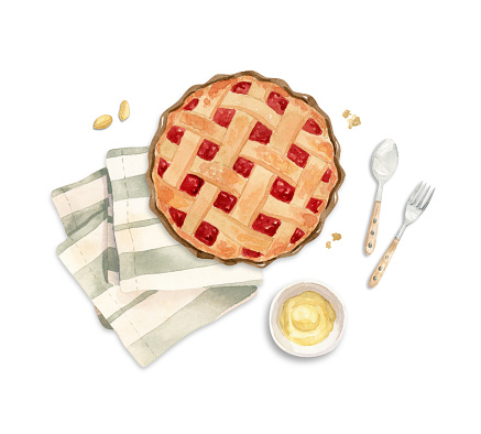 illustration - berries pie on a tea towel with cream, butter