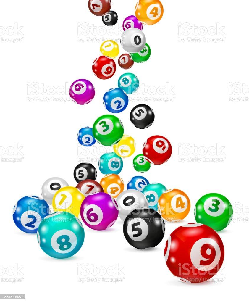 Bolas del Bingo colorida ilustración caen al azar. - ilustración de arte vectorial