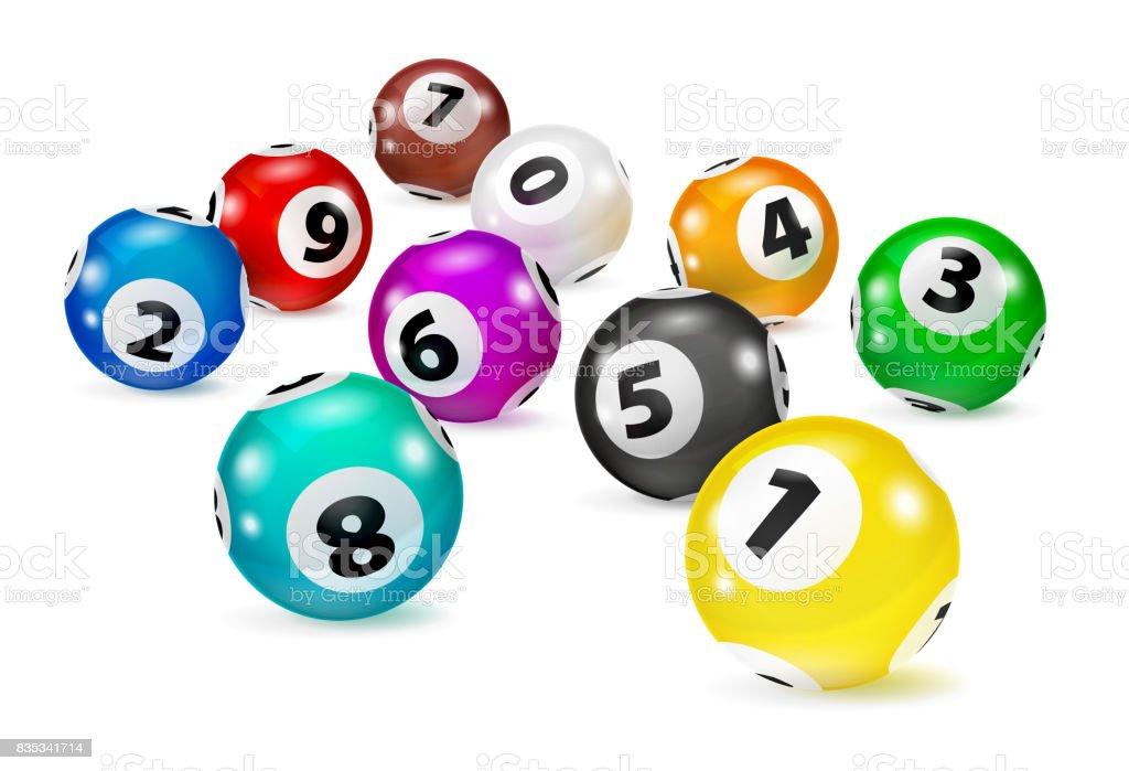 Bolas del Bingo colorida ilustración se encuentran en orden aleatorio. - ilustración de arte vectorial